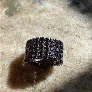 EUC Stretch Ring with Onyx Fashion Gems